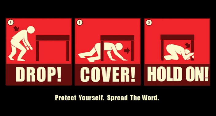 Drop!Cover!Hold On! Protect Yourself. Spread the Word.