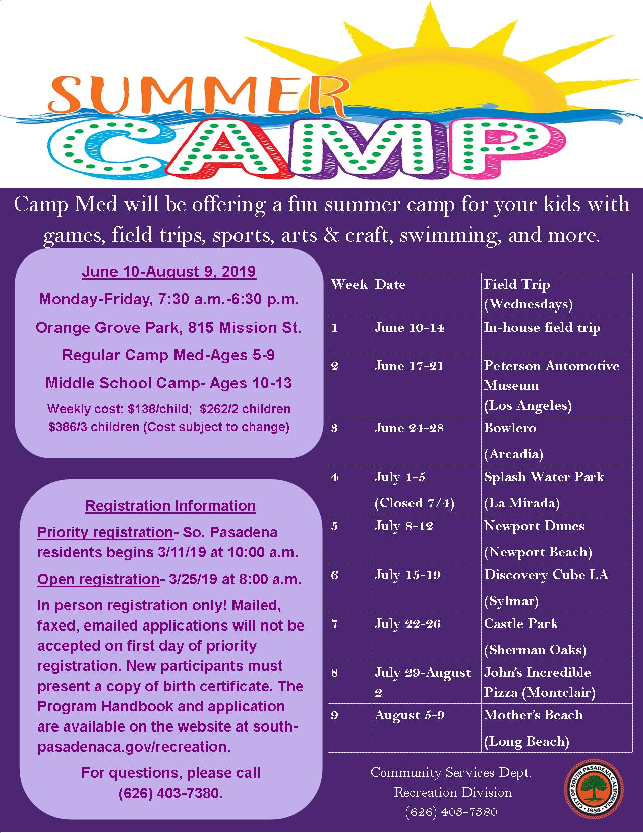 2019 Summer Camp Med Flyer