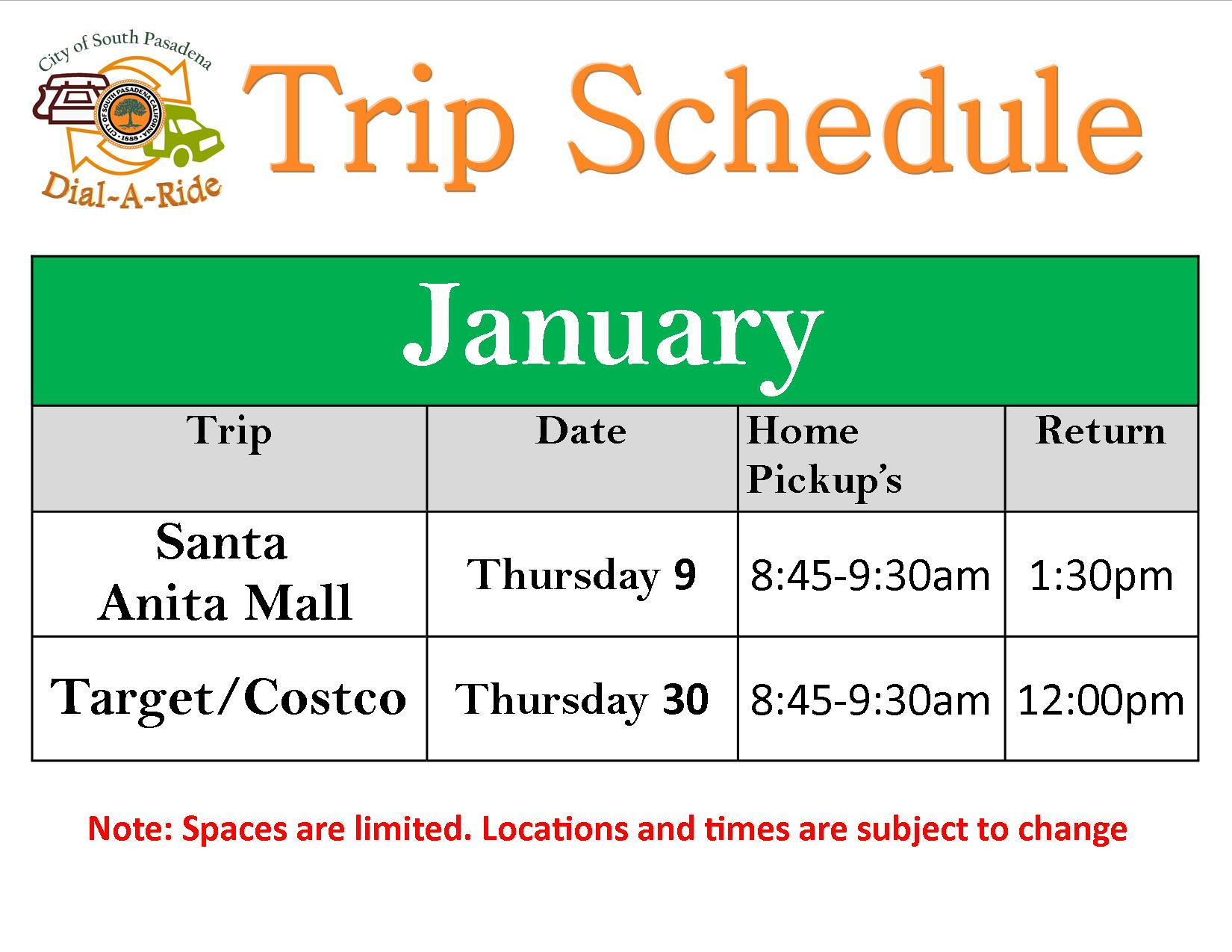 Dial-A-Ride's Trips to the Santa Anita Mall & Target/Costco