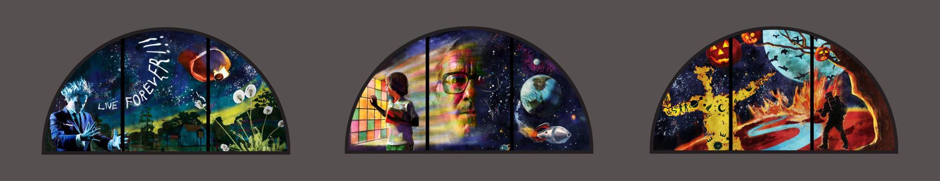 Image of proposed Ray Bradbury window design by Tim Carey